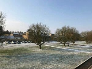 Fram Search office view - Wrest Park in the snow